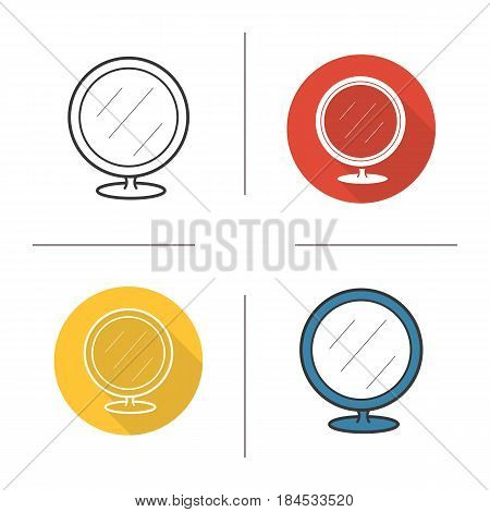 Shaving mirror icon. Flat design, linear and color styles. Bathroom portable round mirror. Isolated vector illustrations