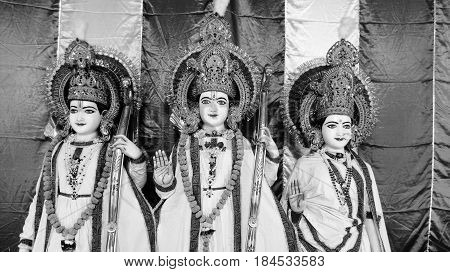 Hindu Gods Rama with His wife Sita & Brother Laxmana with Colorful background