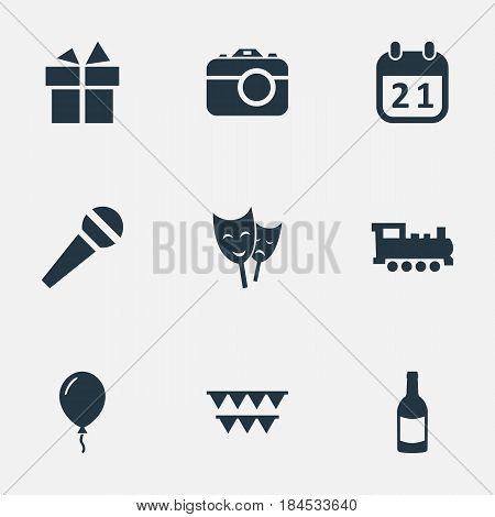 Vector Illustration Set Of Simple Birthday Icons. Elements Camera, Aerostat, Beverage And Other Synonyms Voice, Aerostat And Fizz.