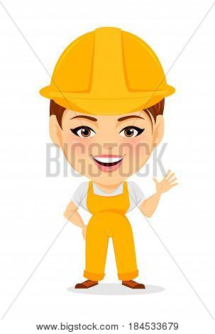 Builder woman. Funny female worker with big head showing hello gesture. Humorous cartoon character repairer. Vector illustration.