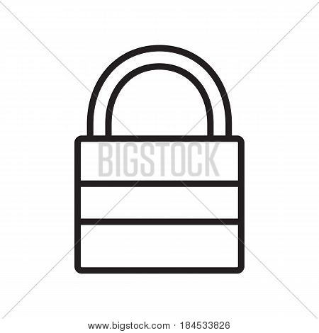 Closed lock linear icon. Padlock thin line illustration. Security contour symbol. Vector isolated outline drawing
