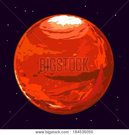 One full planet Mars in space, space exploration and colonize illustration