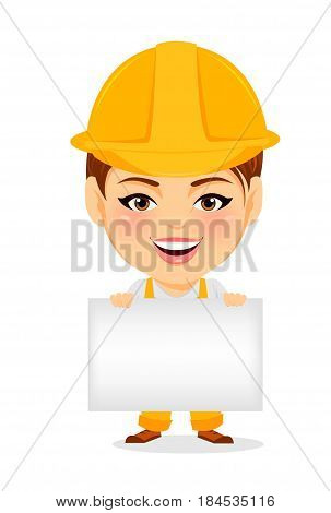 Builder woman. Funny female worker with big head holding blank sign or banner. Humorous cartoon character repairer. Vector illustration.