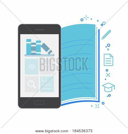 Mobile Application Interface Bookstore Vector Illustration blue