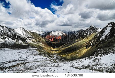 Beautiful Tibet scenery in china- This is Ramra Lake God Lake, more than 5,000 meters above sea level.