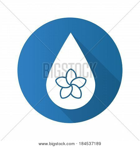Aromatherapy oil drop flat design long shadow icon. Spa salon oil drop with plumeria flower inside. Vector silhouette symbol