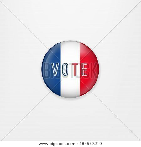 Flag of France round icon, badge or button. French national symbol. France Presidential Election Voting. Vector Illustration