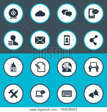 Vector Illustration Set Of Simple Newspaper Icons. Elements Keypad, Notepad, Share And Other Synonyms Tablet, Cloud And Share.