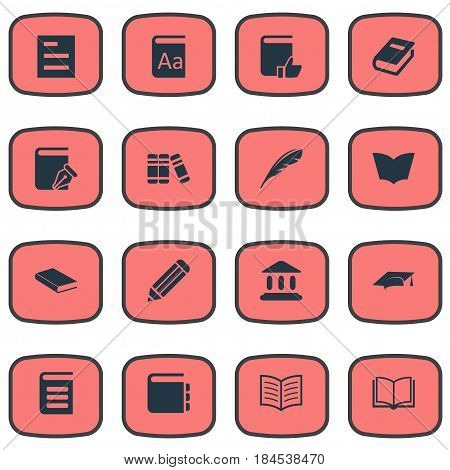 Vector Illustration Set Of Simple Reading Icons. Elements Encyclopedia, Plume, Reading And Other Synonyms Catalog, Reading And Pen.