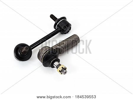 Tie rod end, link stabilizer   on a white background isolated.  Auto Parts. Spare parts for the repair of cars.