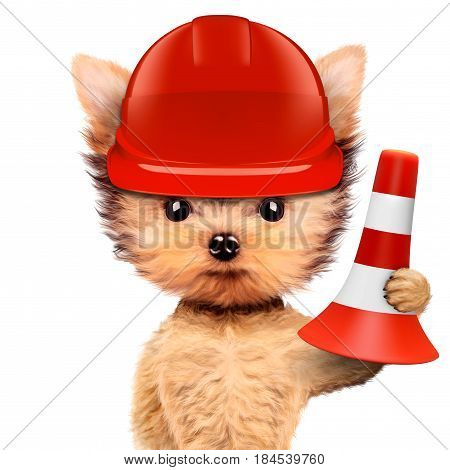 Funny dog in red hard hat with cone isolated on white background. Concepts for web banners, web sites. Fixing computer and repair center concept with cute dog. 3D illustration with clipping path
