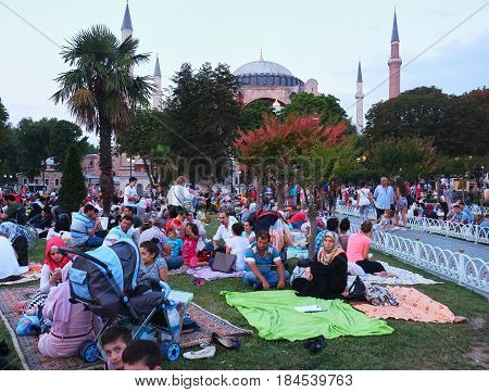 The Muslims Waiting For The Evening Meal (iftar) In Ramadan In Front Of Hagia Sophia, Istanbul