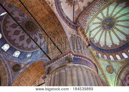 The сeiling Decorations In The Interior Of Sultan Ahmed Mosque  (blue Mosque), Istanbul.