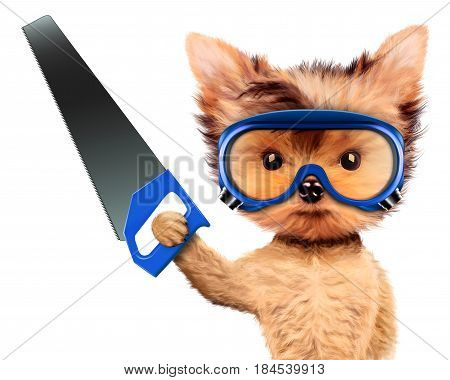Funny dog in safety glasses with saw isolated on white background. Concepts for web banners, web sites. Fixing computer and repair center concept with cute dog. 3D illustration with clipping path