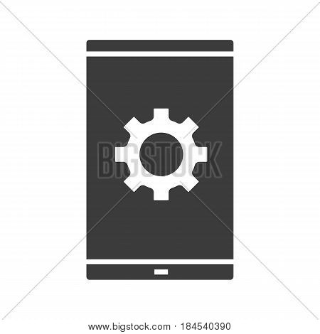 Smartphone settings glyph icon. Preferences silhouette symbol. Smart phone with cogwheel. Negative space. Vector isolated illustration