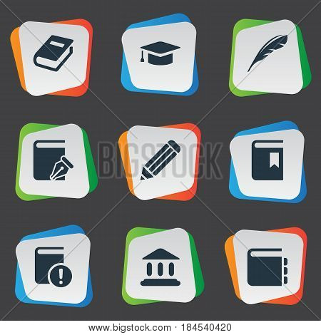 Vector Illustration Set Of Simple Education Icons. Elements Plume, Notebook, Library And Other Synonyms Book, Quill And Pen.