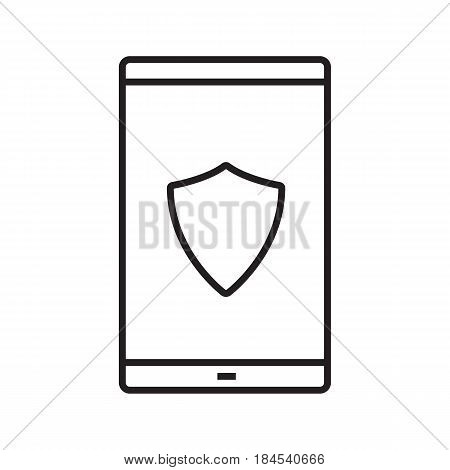 Smartphone antivirus app linear icon. Thin line illustration. Smart phone with protection shield contour symbol. Vector isolated outline drawing