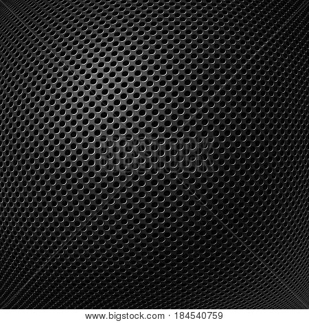 Abstract modern grey perforated metal plate textured and distorted in the ball background