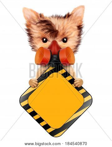 Funny dog in hard hat and respirator with road sign isolated on white. Concepts for web banners, web sites. Fixing computer and repair center concept with cute dog. 3D illustration with clipping path