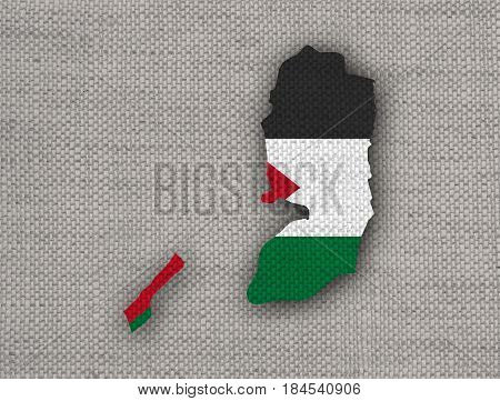 Map And Flag Of Palestine On Old Linen