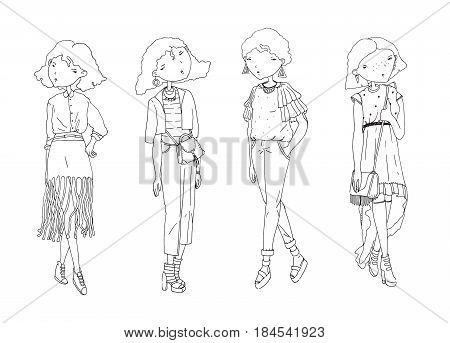 Fashion vector girls set. Hand drawn creative illustration with lovely black and white girls in casual clothes with bags shoes. Isolated on white sketch in doodle style. Cute girls good for coloring.