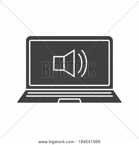 Laptop sound on glyph icon. Silhouette symbol. Laptop with loud speaker. Negative space. Vector isolated illustration