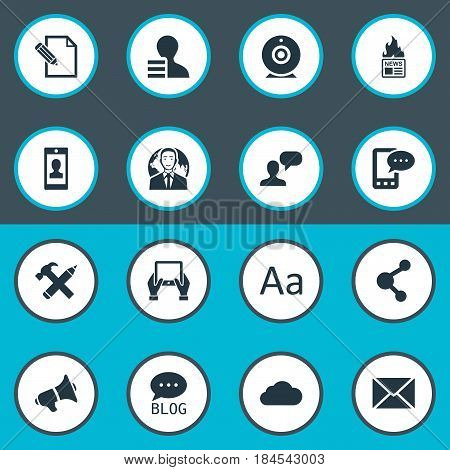 Vector Illustration Set Of Simple User Icons. Elements Share, Cedilla, Gain And Other Synonyms Repair, Cloud And International.
