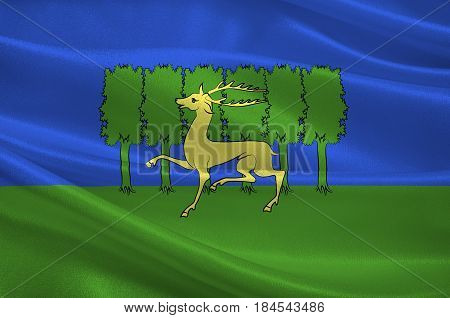 Flag of Gueret is a commune and the prefecture of the Creuse department in the Nouvelle-Aquitaine region in central France. 3D illustration