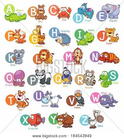 Vector illustration of Cartoon animal English alphabet
