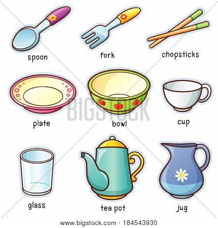 Vector illustration of Cartoon tableware set vocabulary