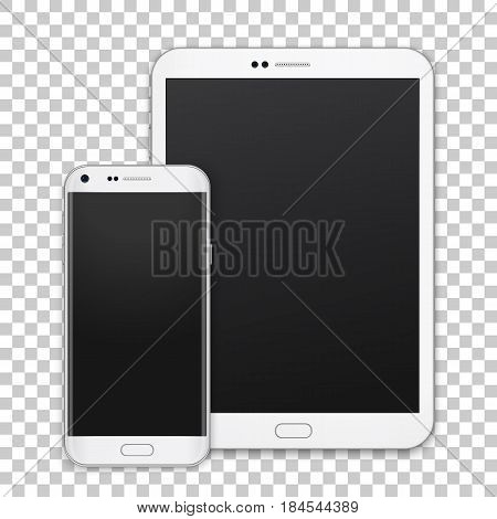 Set of realistic tablet and mobile phone with empty screen. New vector gadget isolated on transparent background.