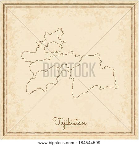 Tajikistan Region Map: Stilyzed Old Pirate Parchment Imitation. Detailed Map Of Tajikistan Regions.