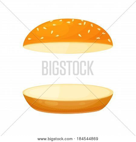 Floating bun with sesame. Menu or a recipe illustration. Fresh and tasty food or cooking ingredient isolated on white background. Bread roll for the burger