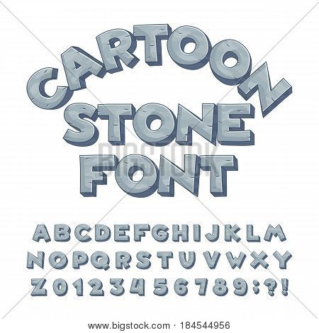 Cartoon stone alphabet font. Type letters, numbers, symbols. Stock vector typeface for your design.
