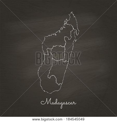 Madagascar Region Map: Hand Drawn With White Chalk On School Blackboard Texture. Detailed Map Of Mad