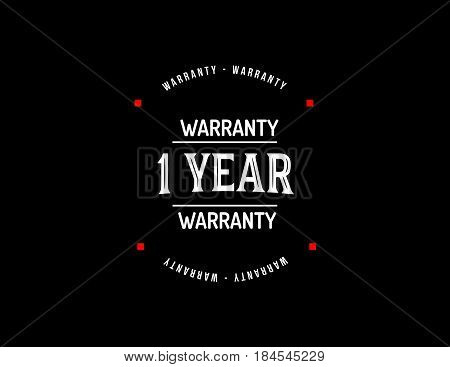 1 year warranty icon vintage rubber stamp guarantee