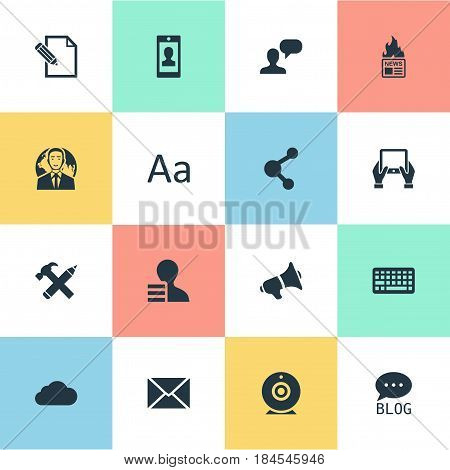 Vector Illustration Set Of Simple User Icons. Elements Overcast, Document, International Businessman And Other Synonyms Considering, Network And Missive.