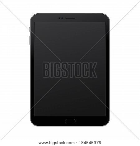 Vertical black pad concept with empty screen for presentation, print and web. Vector quality illustration.