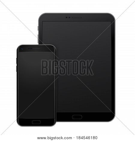 Black tablet pad and smart phone on white background, vector digital template to present your design, site, app promo, web and print.