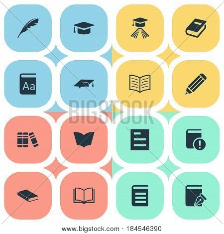 Vector Illustration Set Of Simple Education Icons. Elements Pen, Bookshelf, Academic Cap And Other Synonyms Pencil, Encyclopedia And Library.
