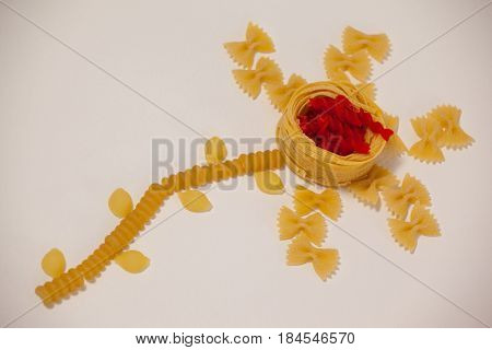 Varieties of pasta making a flower on white background