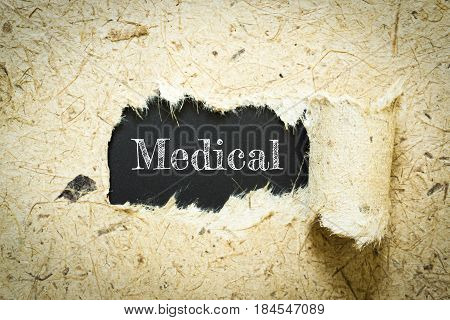 Text Medical on paper black has Mulberry paper background you can apply to your product.