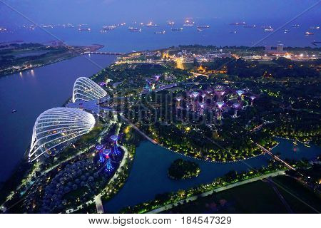 Singapore, Singapore - February 12, 2017: Gardens By the Bay botanical glass pavilions, it's a new design garden with innovative.