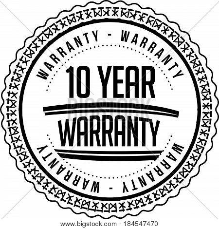 10 year warranty icon vintage rubber stamp guarantee