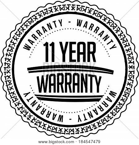 11 year warranty icon vintage rubber stamp guarantee