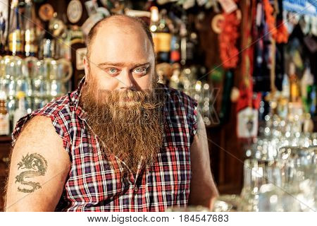 Portrait of half length serious bearded bartender at counter. He looking at camera