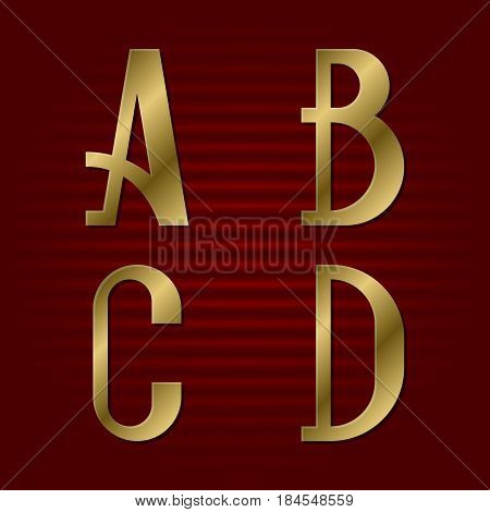 Presentable gold font. A, B, C, D isolated golden letters.
