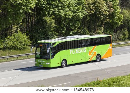 Fraknfurt Germany - March 30 2017: Flixbus coach on the autobahn. Flixbus is an european long distance coach service