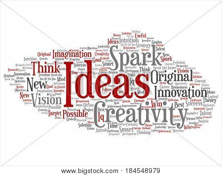 Concept or conceptual red creative new idea brainstorming abstract word cloud isolated on background. Collage of spark creativity, original innovation vision, think, achievement, smart genius text