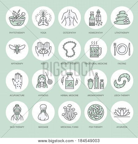 Alternative medicine line icons. Naturopathy, traditional treatment, homeopathy, osteopathy, herbal fish and leech therapy. Thin linear green colored signs for health care center.